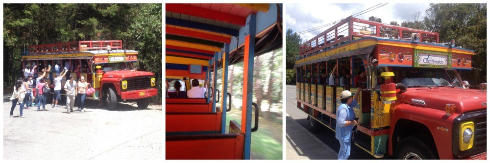 taking the big colourful bus back to the Park Arvi entrance