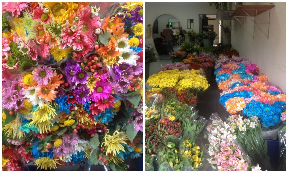 Beautiful colourful flowers in a local flower shop in Envigado Medellin