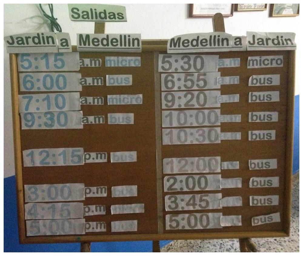 Bus timetable Medellin to Jardin & Jardin to Medellin
