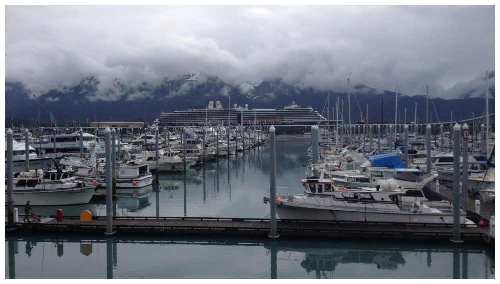 MS Oosterdam from the other side of the harbour in Seward