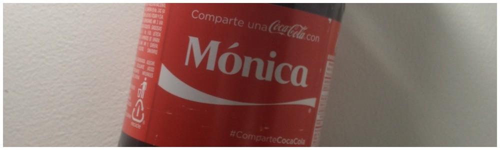 Monika Name on her coke bottle