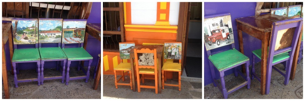 Colourful painted leather chairs in Jardin