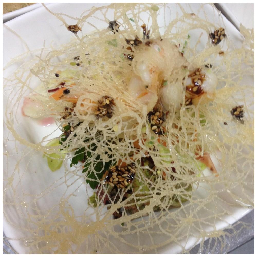 """Second course """"Spider web prawns"""""""