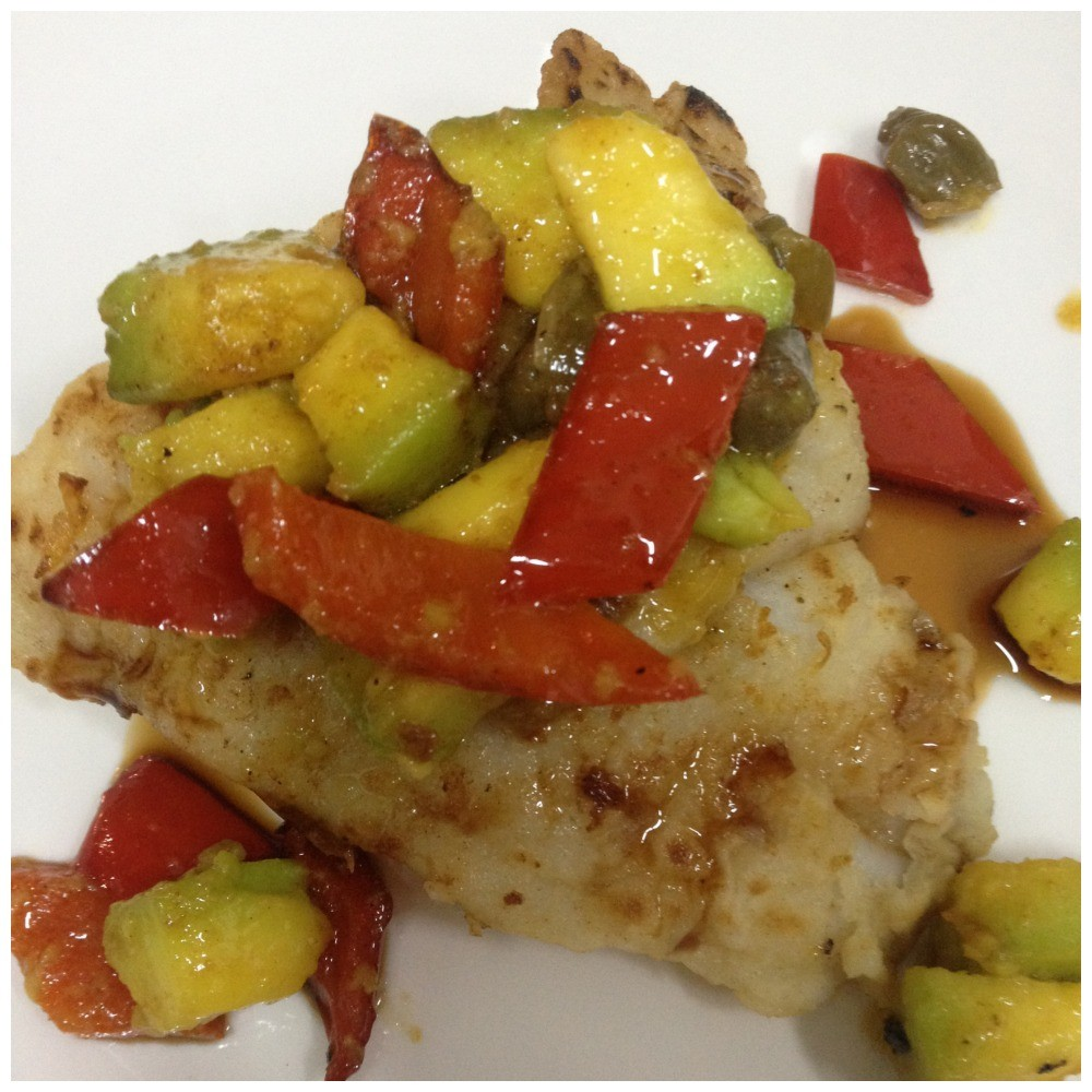 "Third course ""Pan fried fish with nut brown butter capers, avocado & capsicum"""