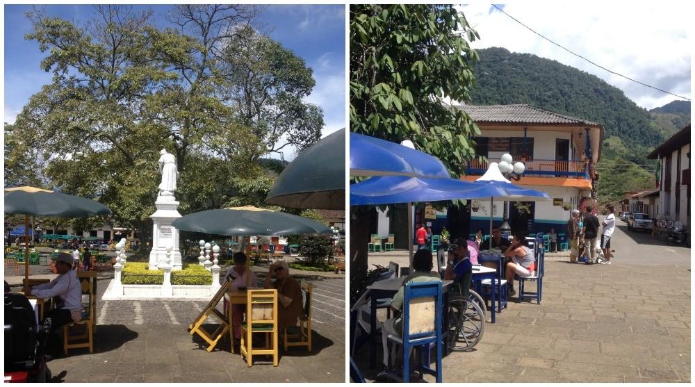 life in the main square in Jardin, Antioquia