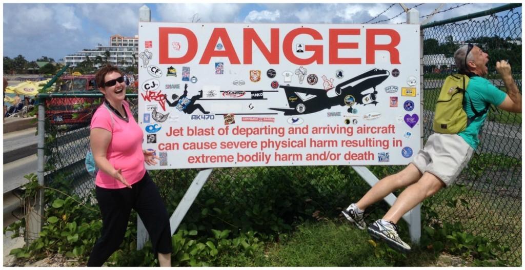 Danger Danger, the signs at St Maartin Maho Bay Beach