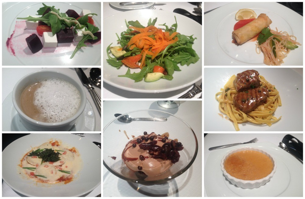 Dinner meals in the Trellis dining room on Celebrity Infinity