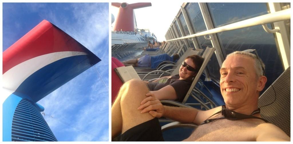 Enjoying the sun on deck