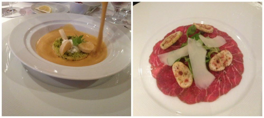 First course of Beef Carpacio and a Lobster Bisque