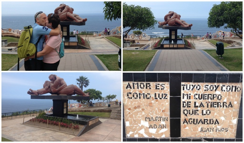Love at the famous kissing couple statue in Miraflores Lima