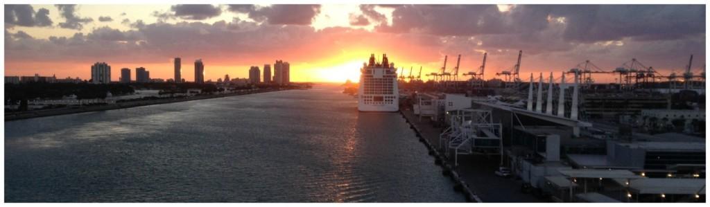 Miami port sunrise