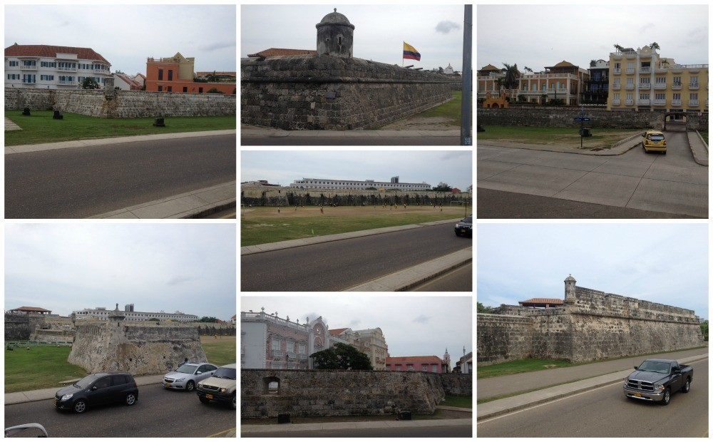 Old city walls in Cartagena