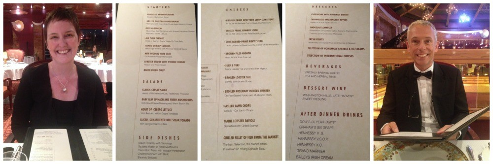 Pinnacle menu on Carnival Splendor