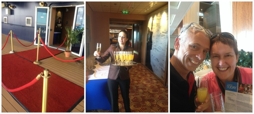 Red carpet, champagne to welcome