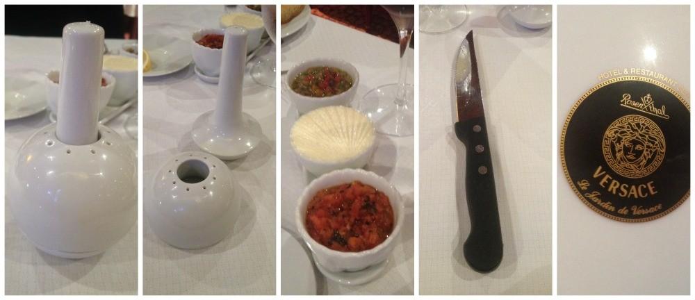 Salt & Peper, steak knife, Versace plates