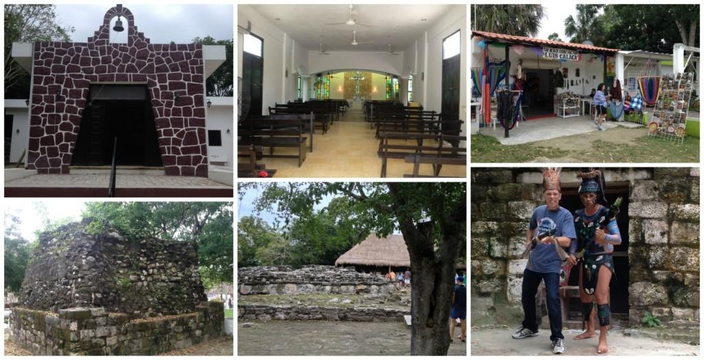 The church and a Mayan ruin