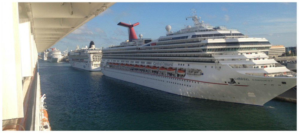 The first of five ships to leave Miami