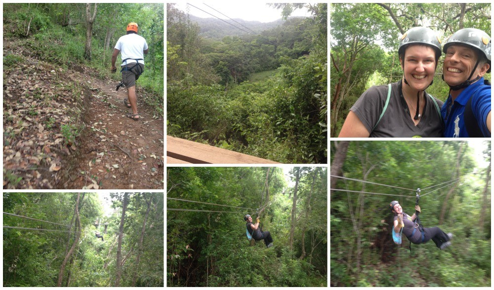 Zip line at  Mayan Eden park in Roatan