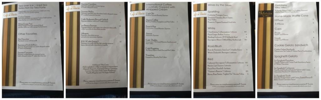 drinks menu in Café al Bacio continued