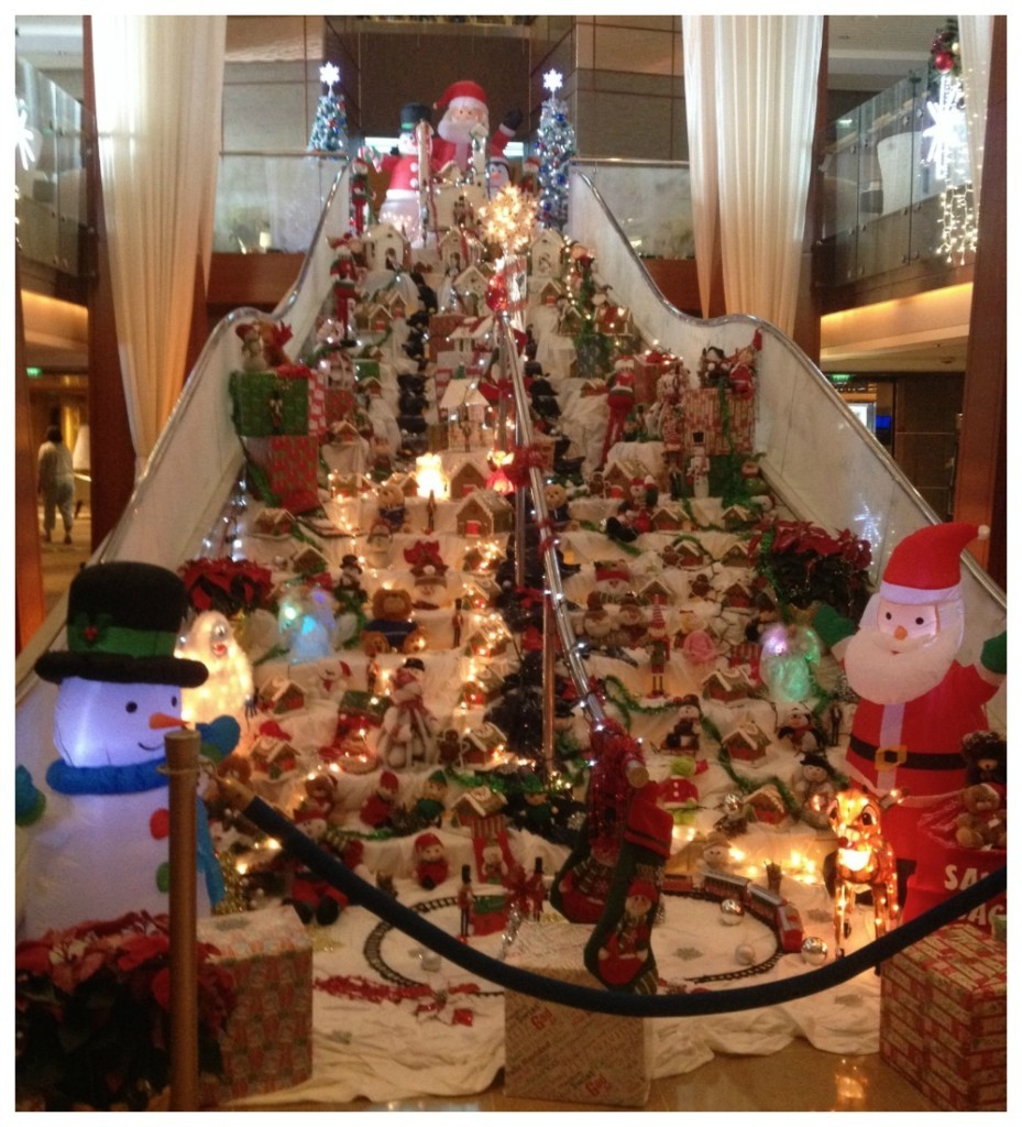 Christmas decorations on the main atrium staircase