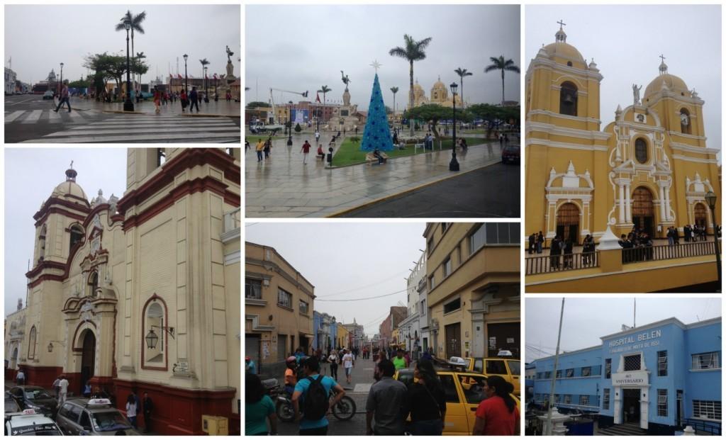The square & church in Trujillo in Peru