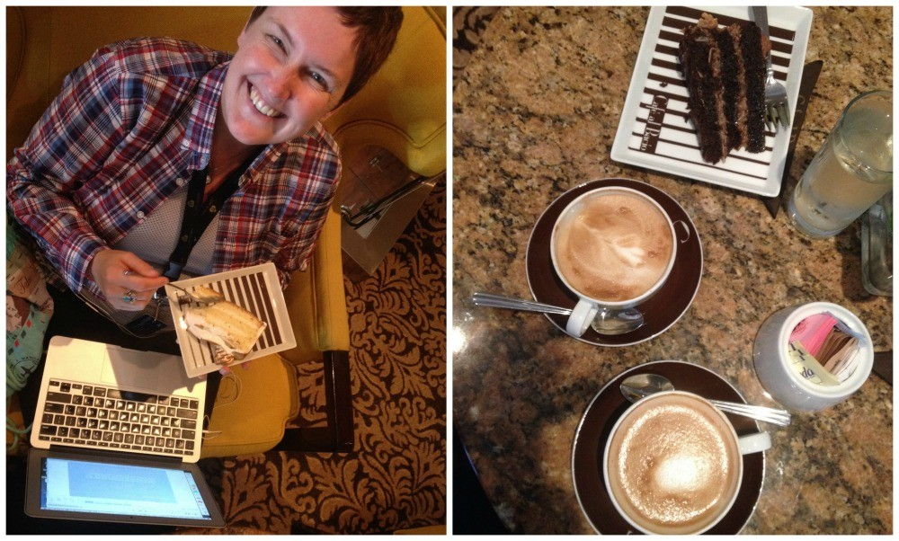 Working on the computer with Coffee & cake