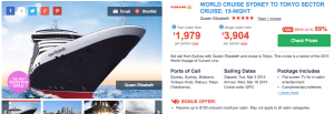 Cheap Cunard cruise from Sydney to Tokyo