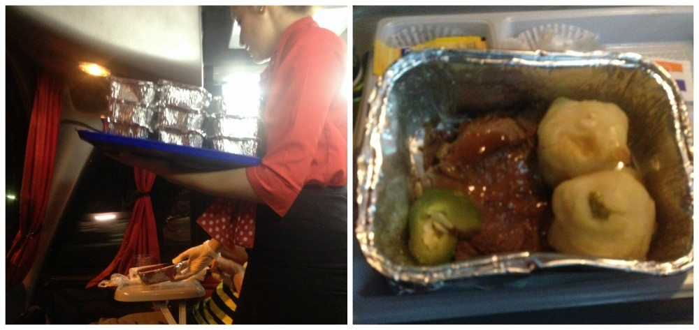 Hot meal service on CATA Bus Royal Suite