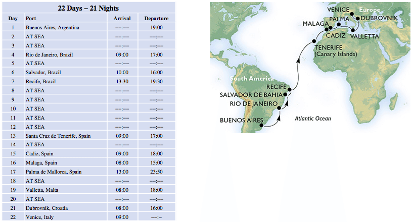 MSC Magnifica 21 night cruise Buenos Aires to Venice