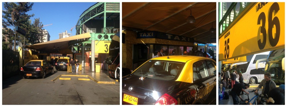 Taxi rank at Santiago bus station in Chile