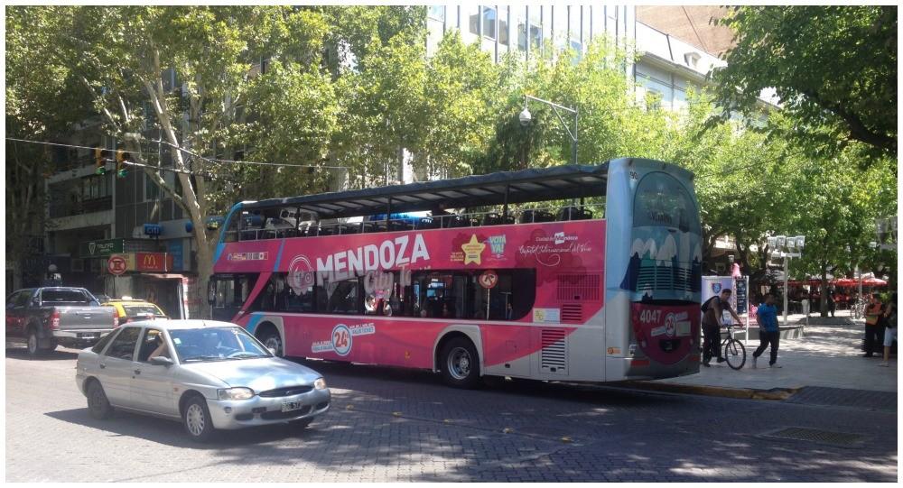 The pink Mendoza city tour bus