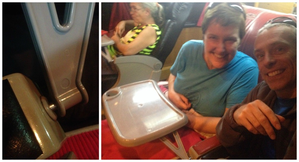 Tray tables for dining on the bus