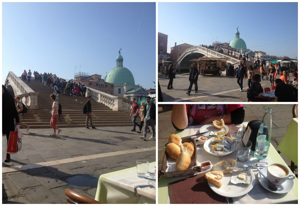 Breakfast in Venice with a view to the Ponte degli Scalzi bridge