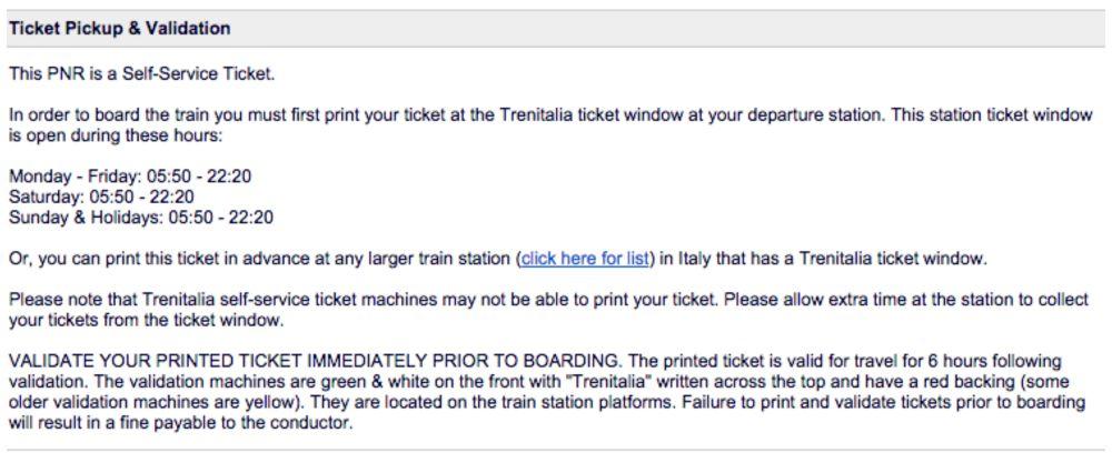 PNR Self-service tickets validation