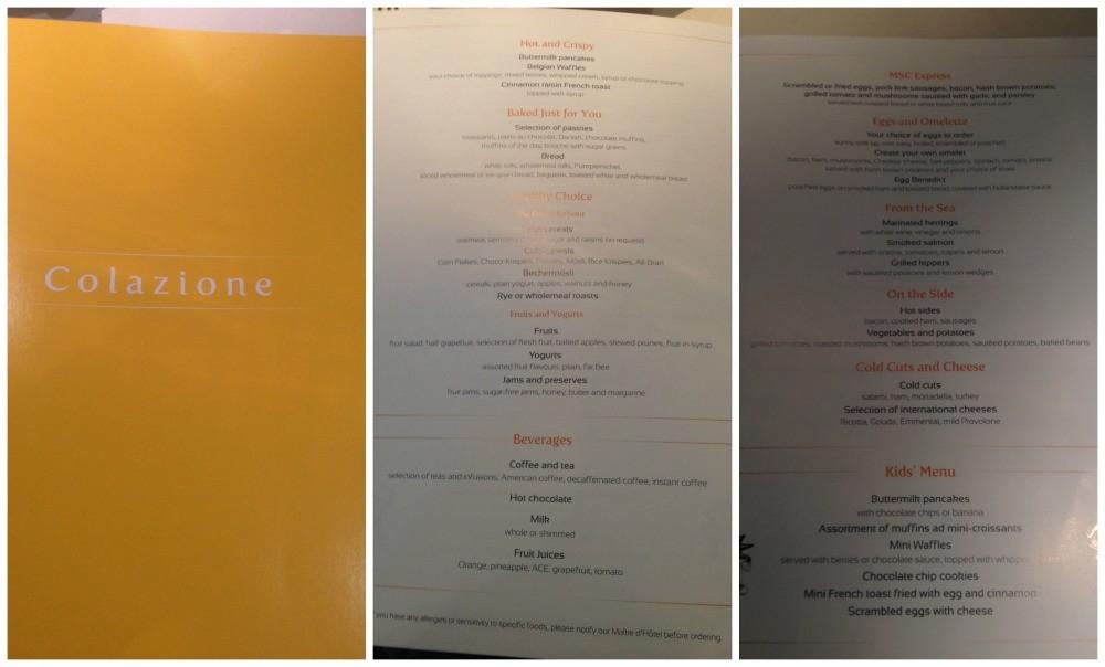 Breakfast menu on MSC Magnifica 2015