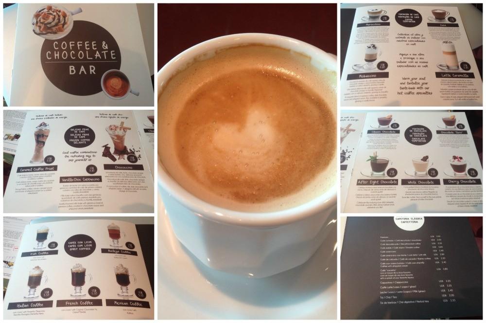 Coffee & Chocolate Bar list on MSC Magnifica 2015