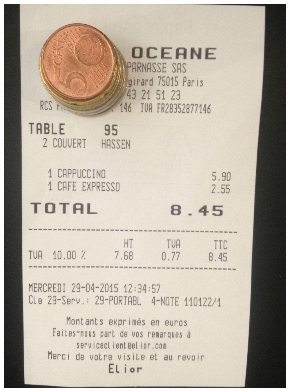 Crazy coffee prices at Gare Montparnasse Paris