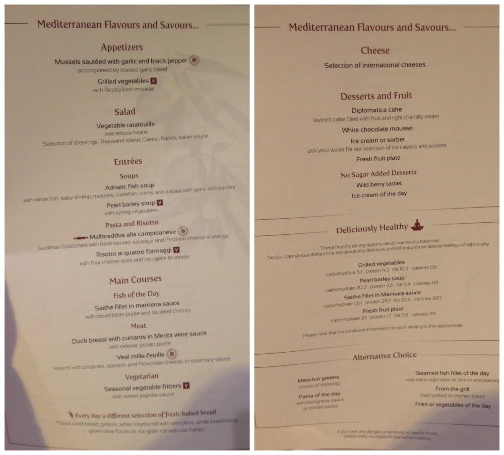 Dinner menu 28 March 2015 MSC Magnifica