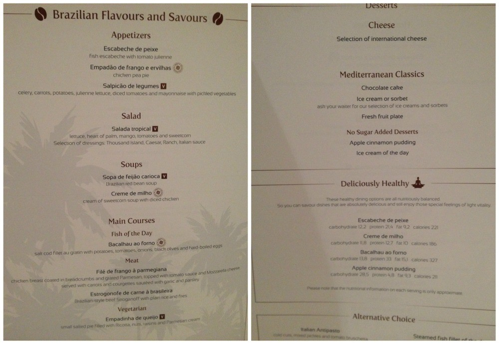 Dinner menu Brazilian theme on MSC Magnifica