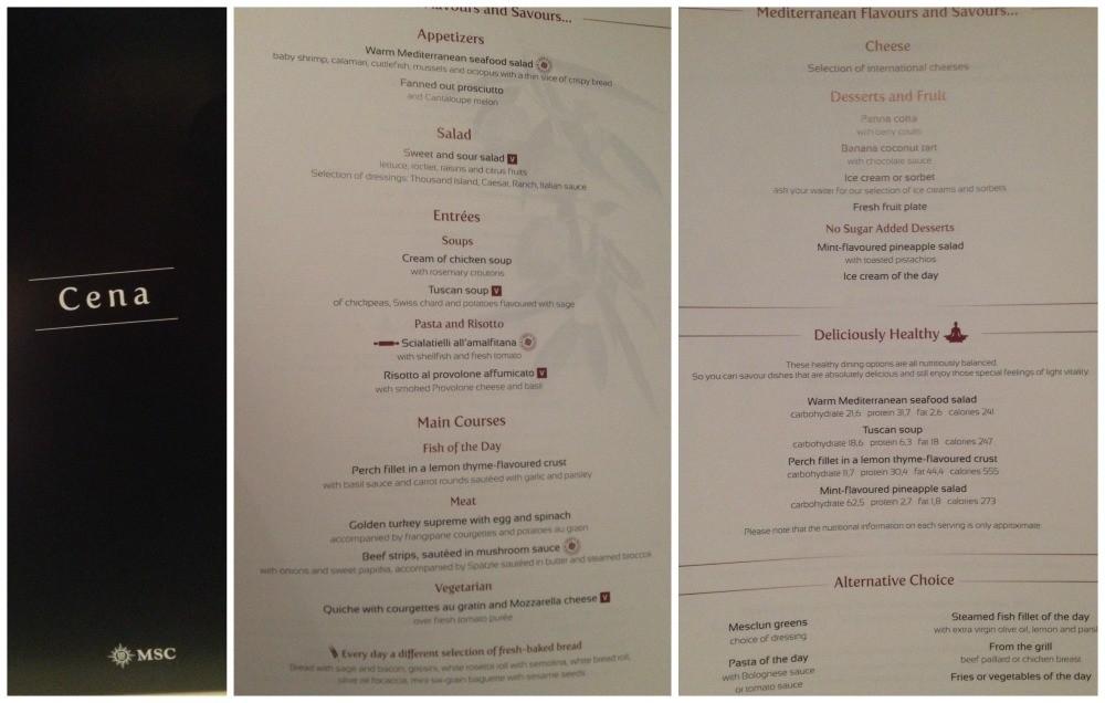 Dinner menu in main dining room on MSC Magnifica 2015