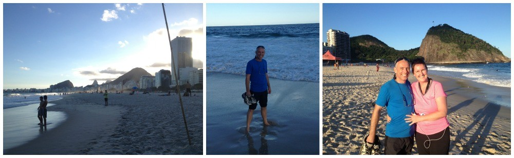 Enjoying the late afternoon sun at Copacabana beach