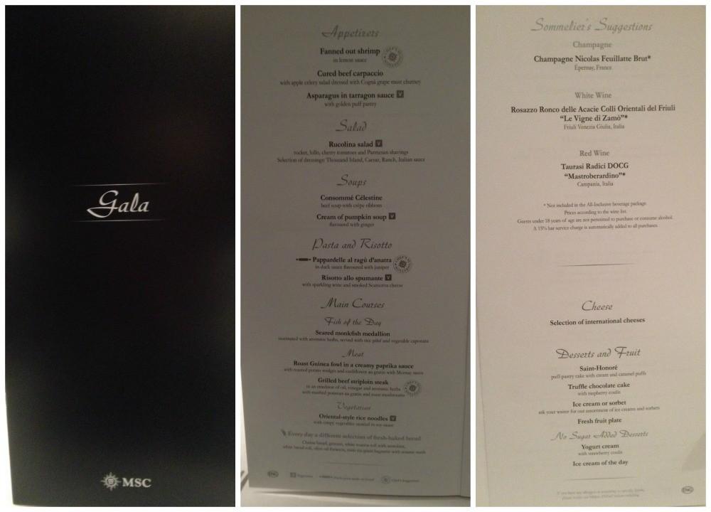 Gala Dinner menu on MSC Magnifica 2015