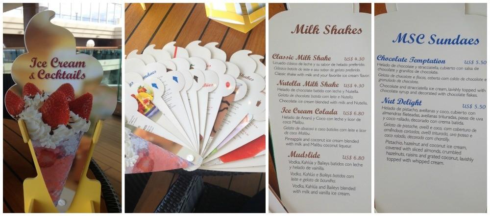 Ice cream menu on MSC Magnifica 2015