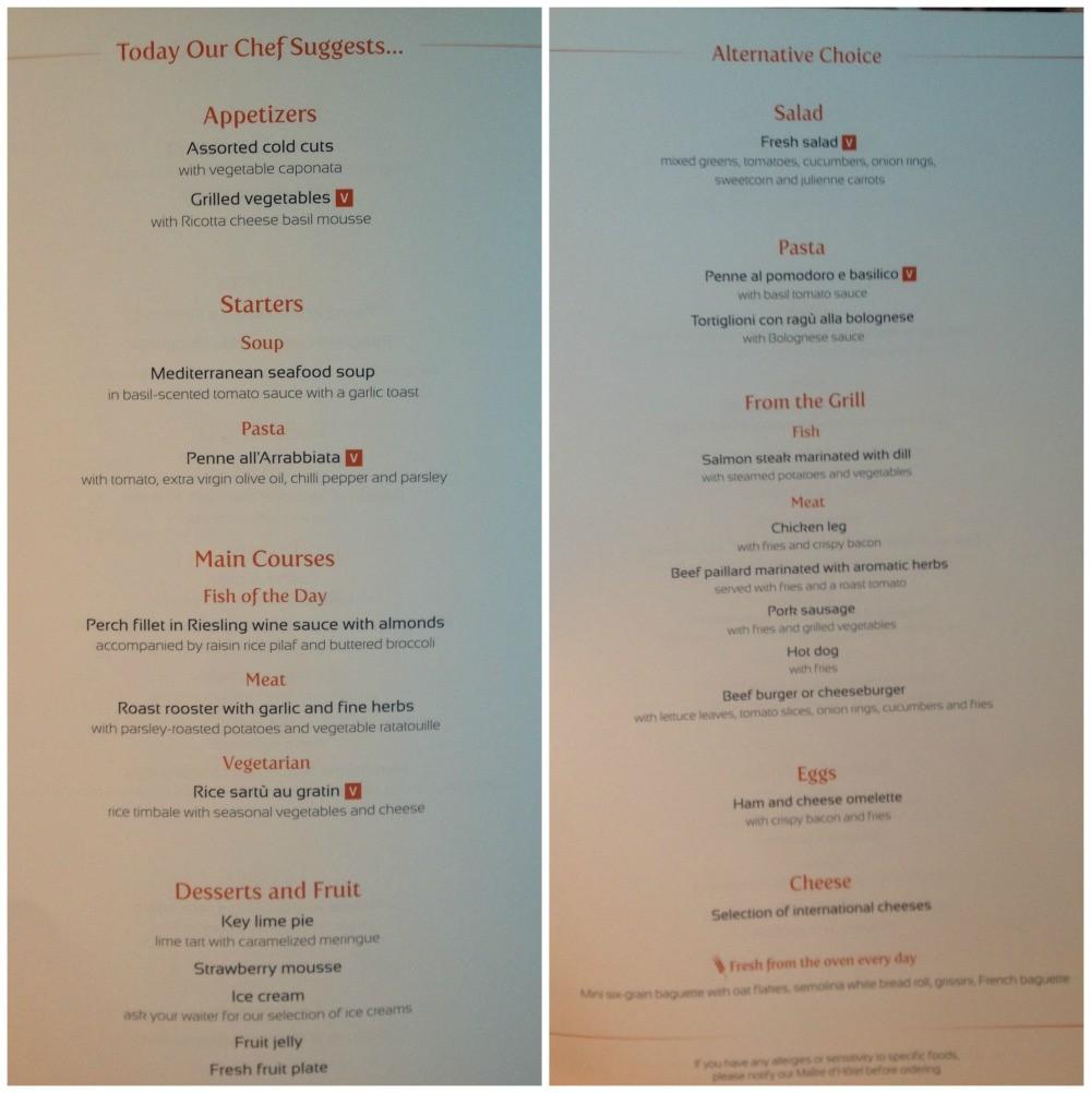 Lunch menu 26 March 2015 MSC Magnifica