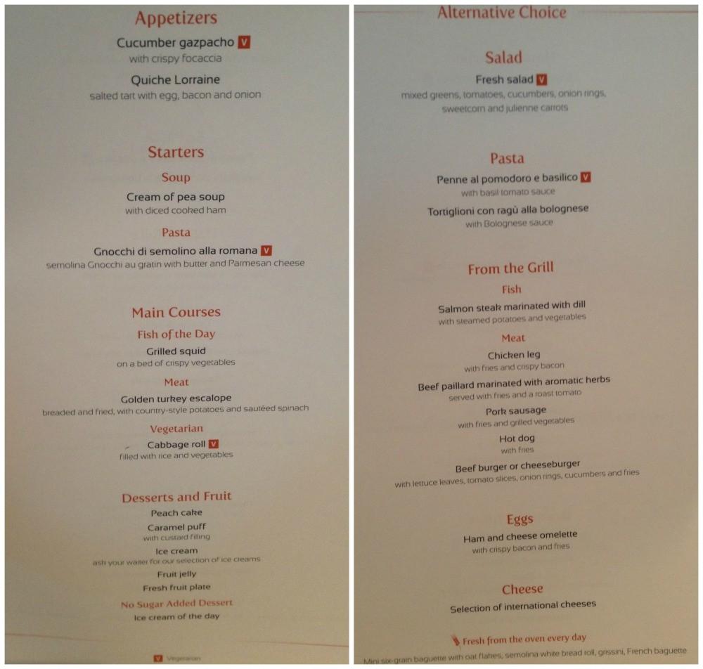 Lunch menu MSC Magnifica
