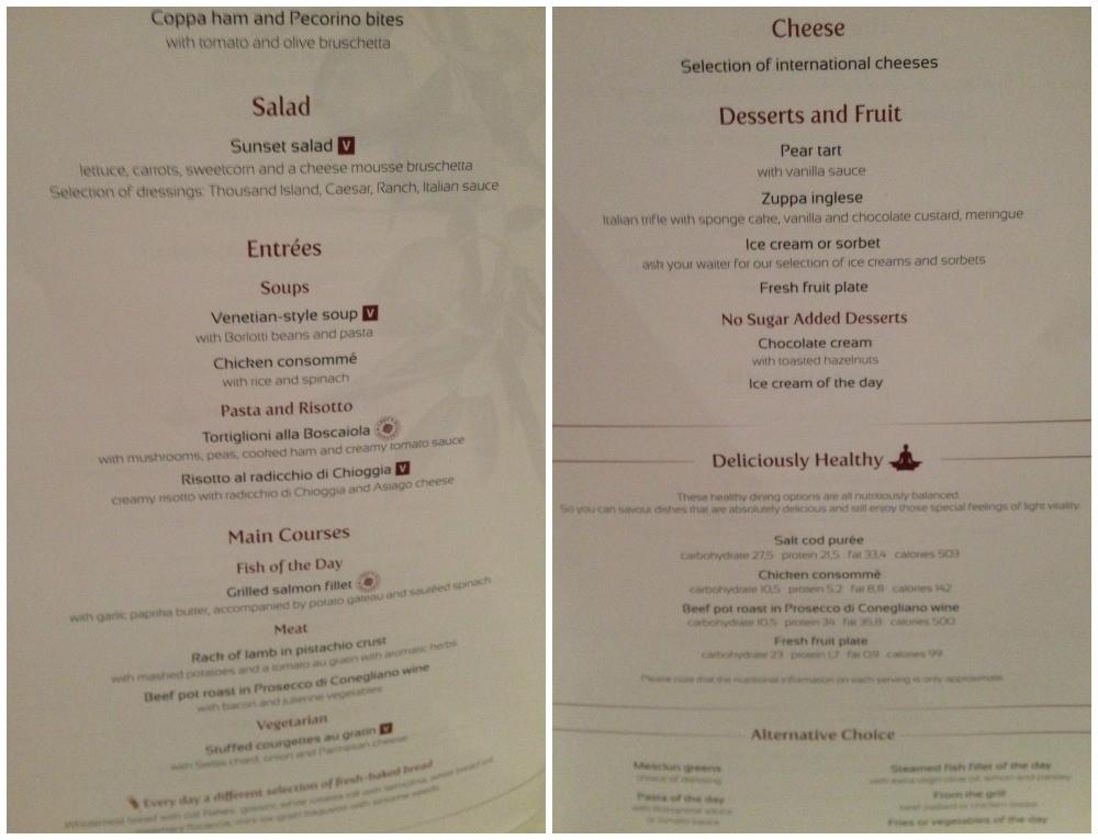 MSC Dinner menu 2015