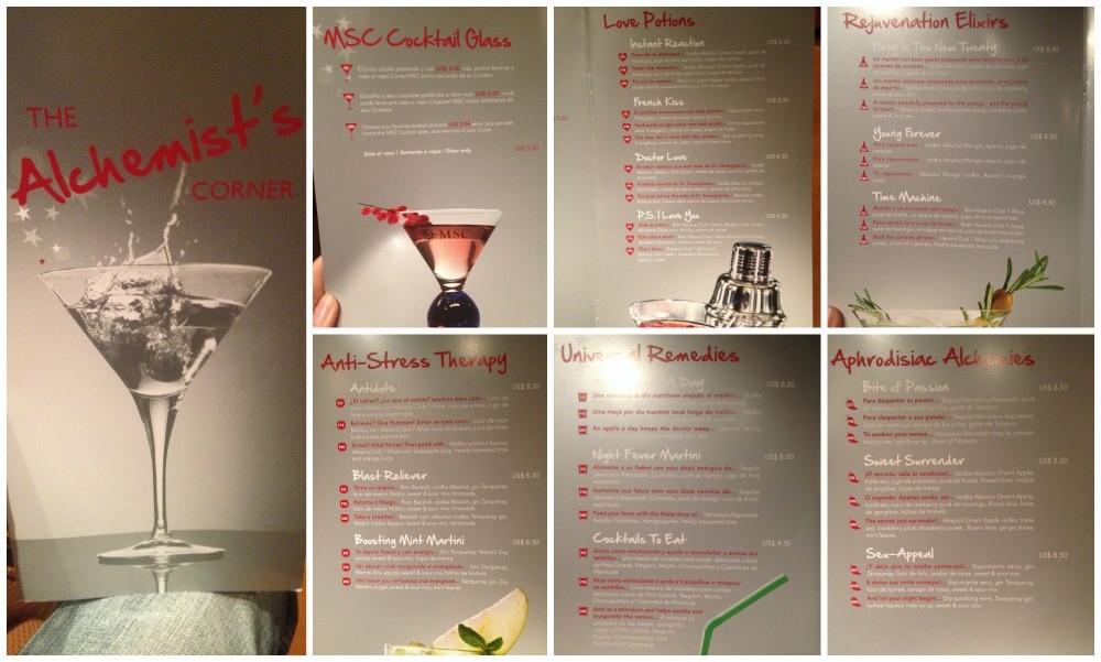 MSC drinks menu the Alchemists corner