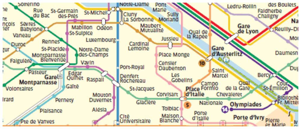 Map showing Gare de Lyon to Gare Montparnasse