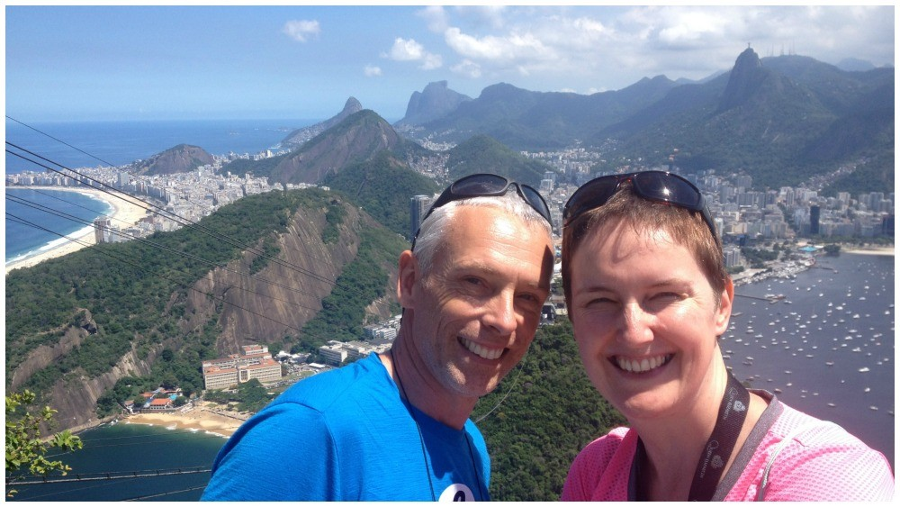 Moni & I at Sugarloaf Mountain with Crist the Redeemer statue in the background