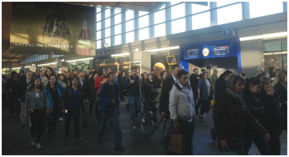 Rush hour at Basel station, oh no thank you